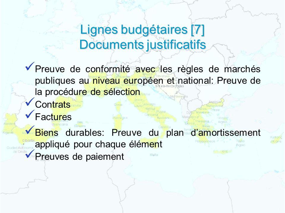 Lignes budgétaires [7] Documents justificatifs